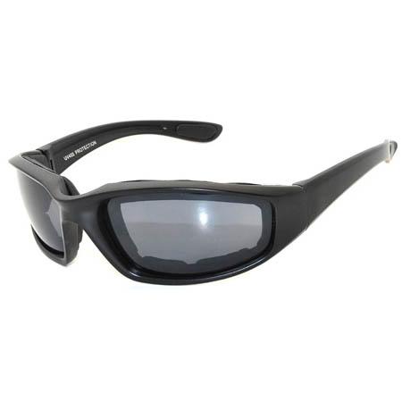 Motorcycle sunglasses black frame smoke lens