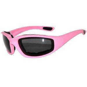 1 Pair of Motorcycle Padded Glasses Pink Smoke