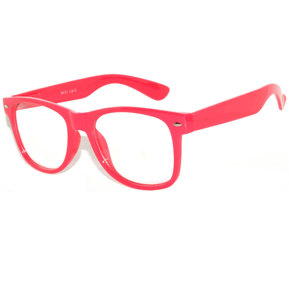 Retro Sunglasses Neon Pink Frame Clear Lens One Pair