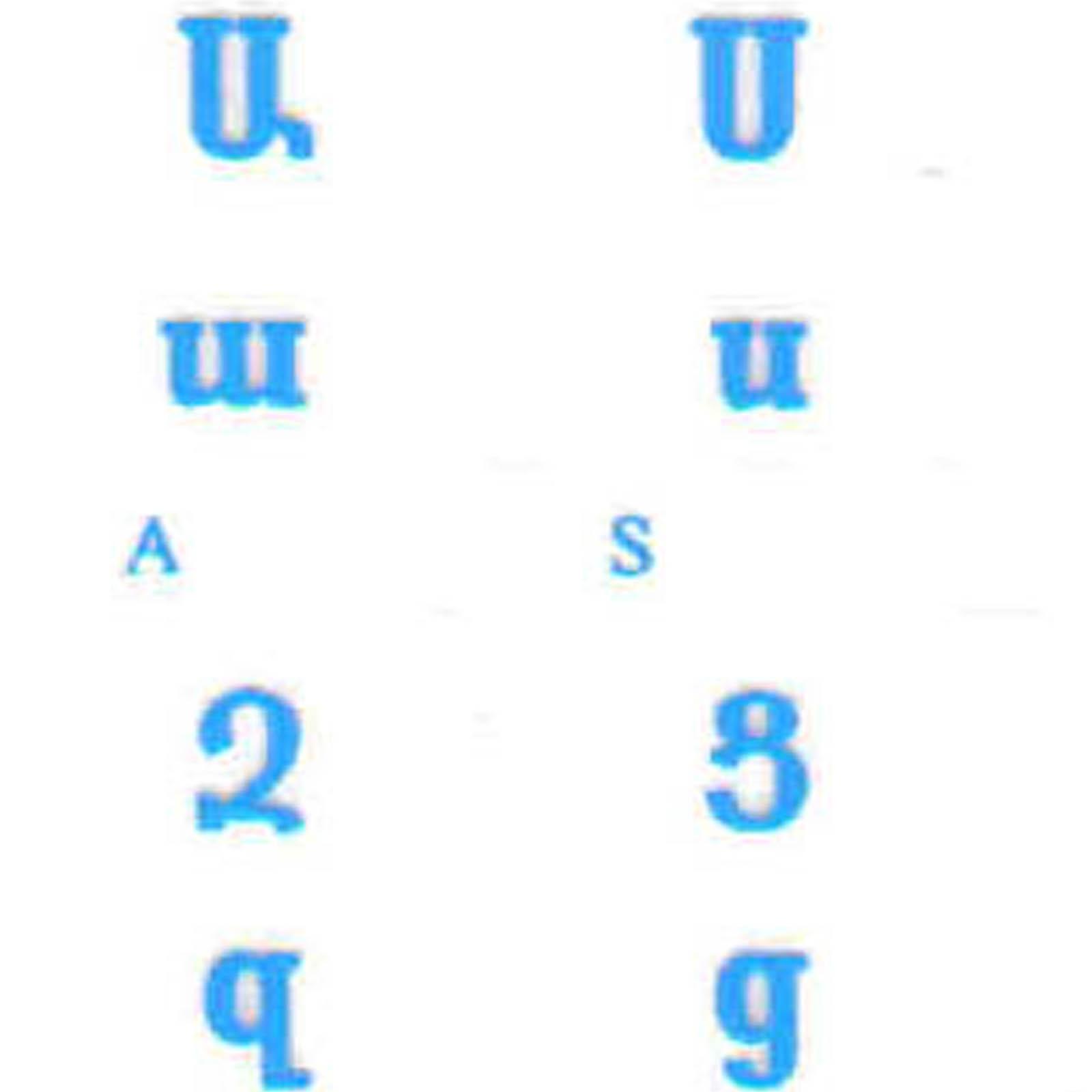 ARMENIAN KEYBOARD STICKERS BLUE LETTERS TRANSPARENT