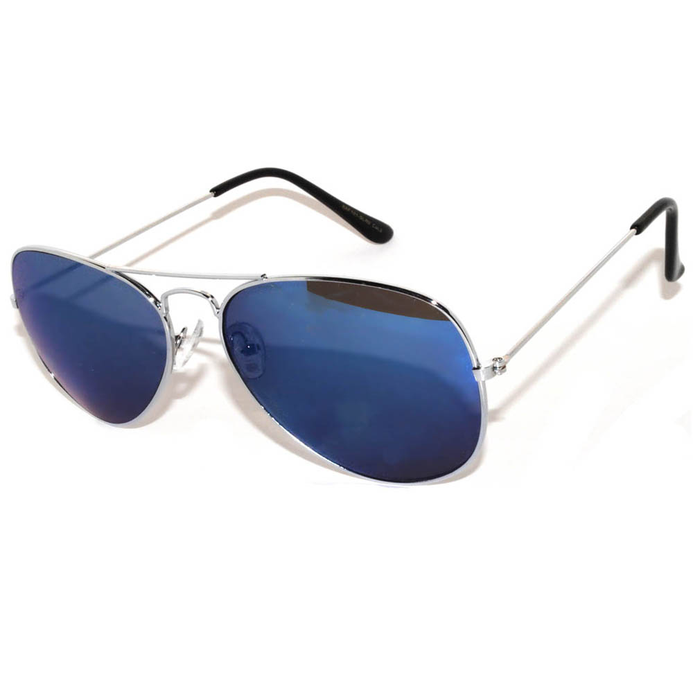 1 pair of Aviator Sunglasses Silver Frame Mirror Blue Lens