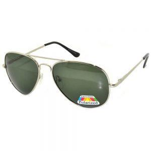 Aviator Polarized Sunglasses Silver Frame Green Lens One Dozen