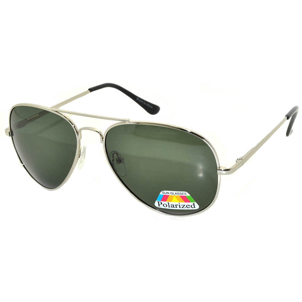 Aviator Polarized Sunglasses Silver Frame Green Lens One Dozen