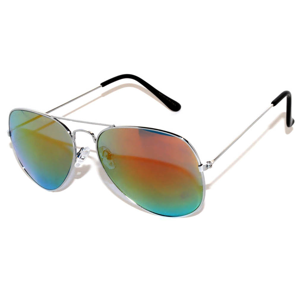 1 Pair of Aviator Sunglasses Silver Frame Mirror Red Lens