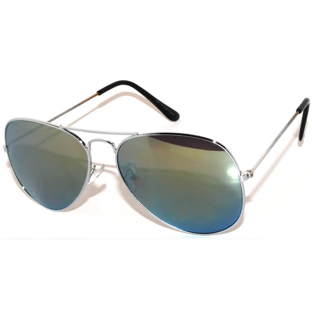 1 Pair of Aviator Sunglasses Silver Frame Mirror Yellow Lens