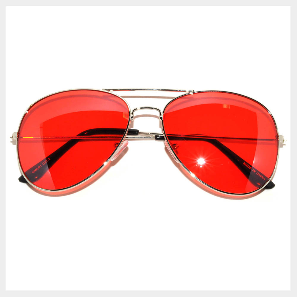 Colored Lens Sunglasses  061 sr owl eyewear aviator sunglasses silver frame red lens