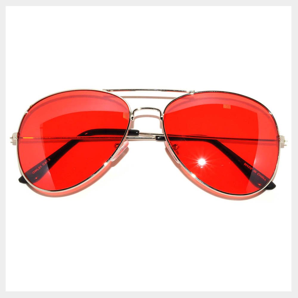Colored Lens Sunglasses  061 sr owl eyewear aviator sunglasses silver frame red lens