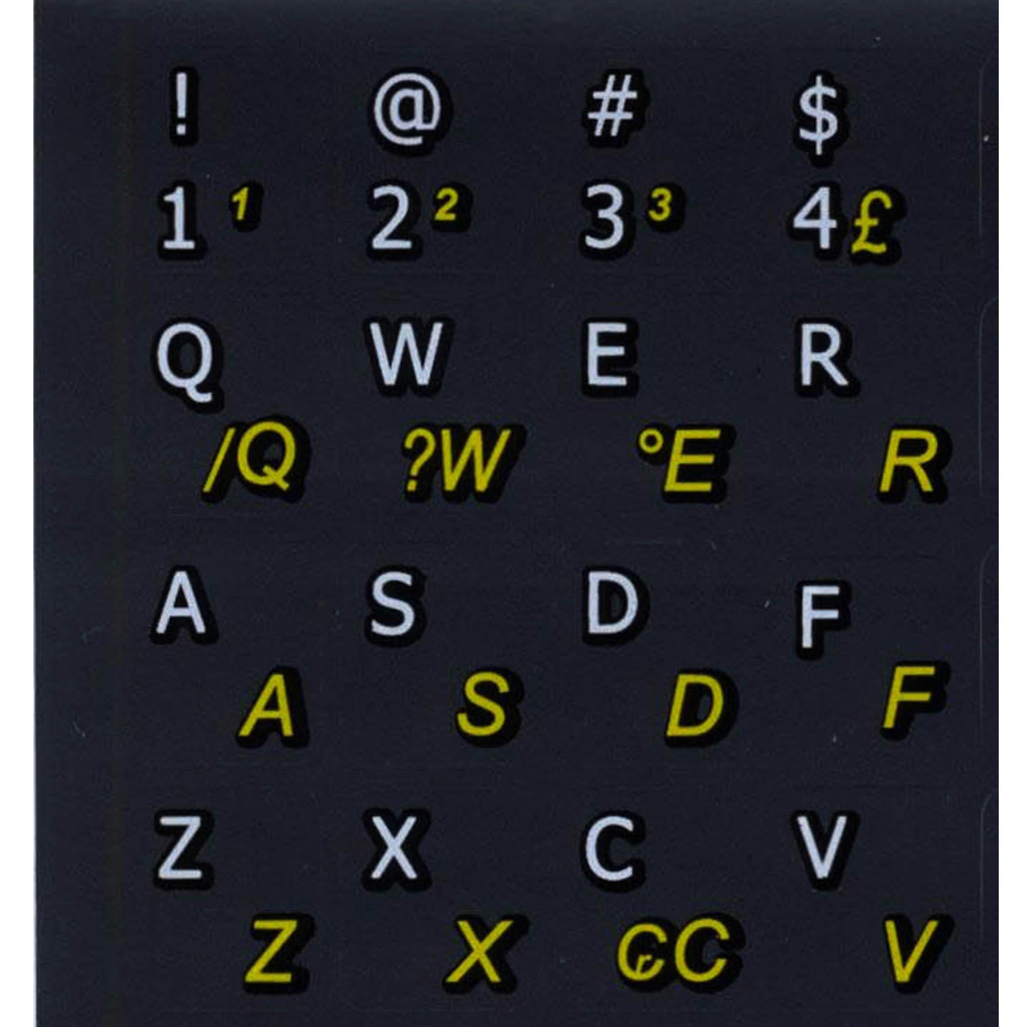 Brazilian Portuguese English keyboard stickers non transparent black