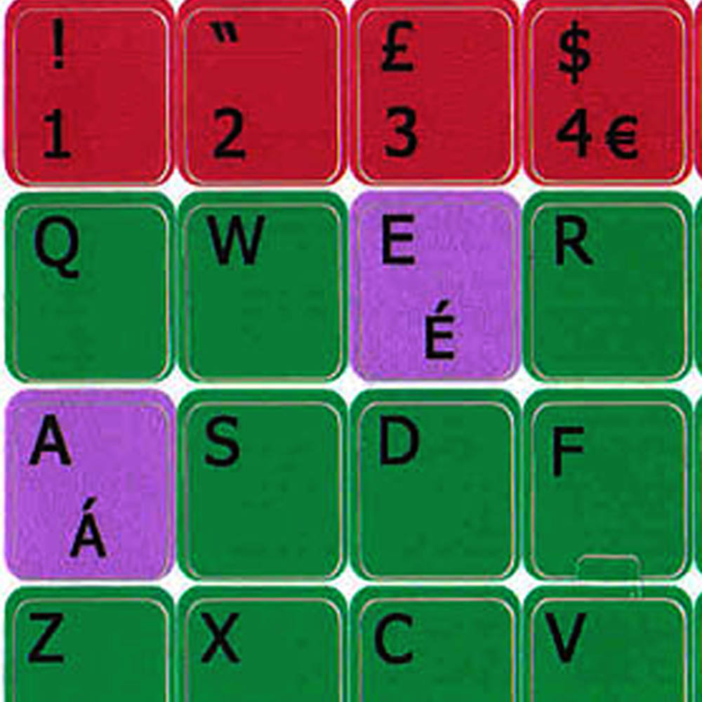 English uk colored learning keyboard sticker