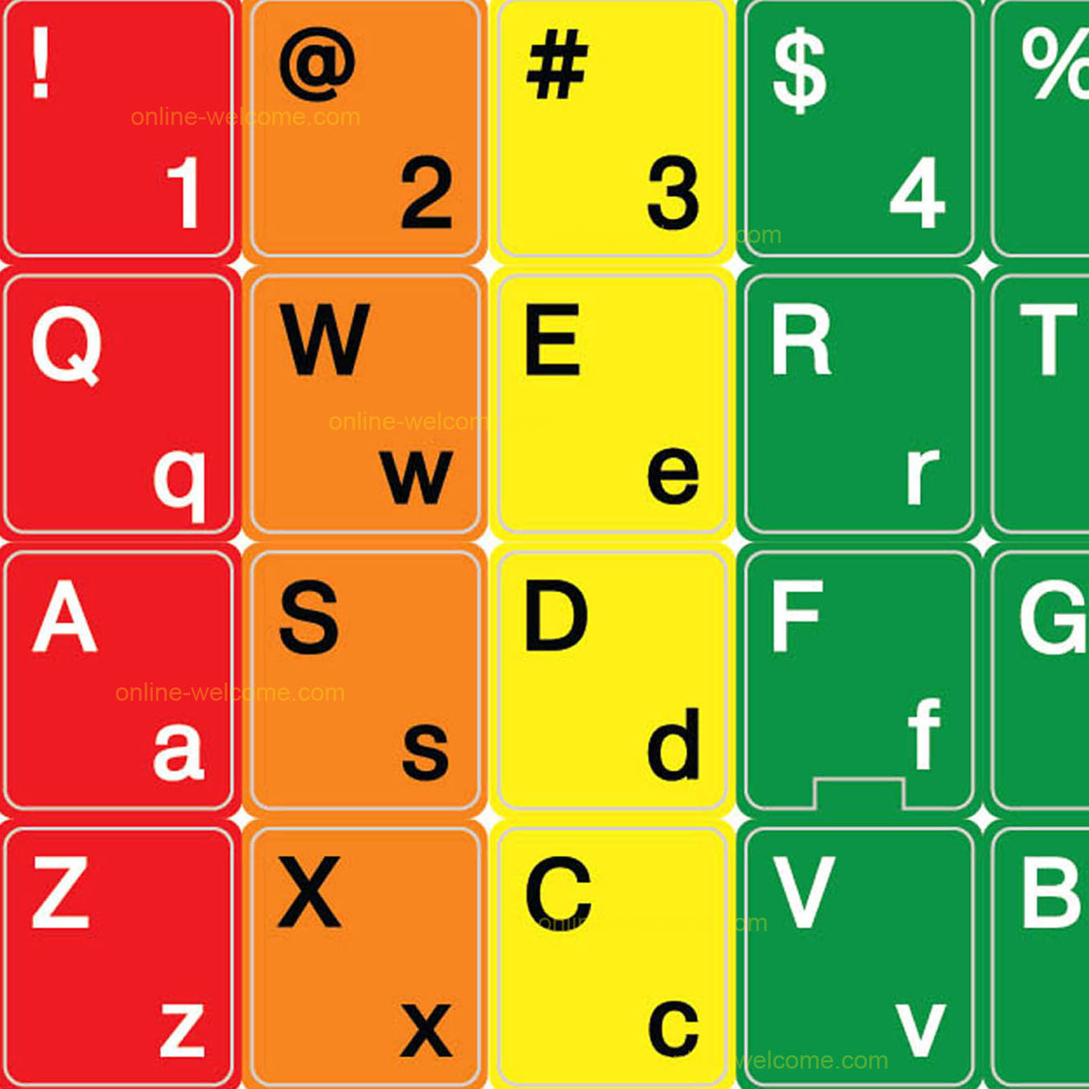 Colored learning keyboard sticker english us
