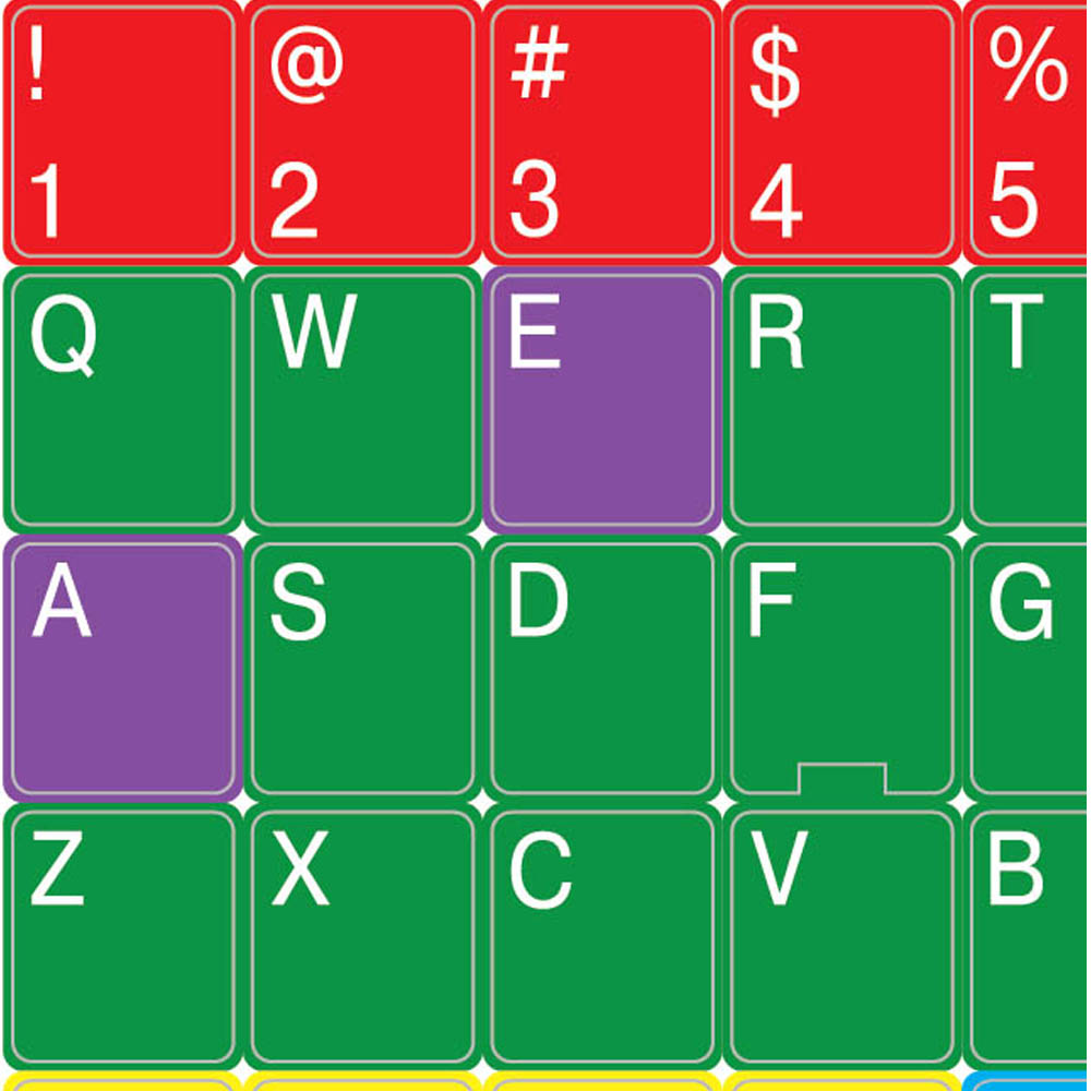 English us colored learning keyboard sticker upper case