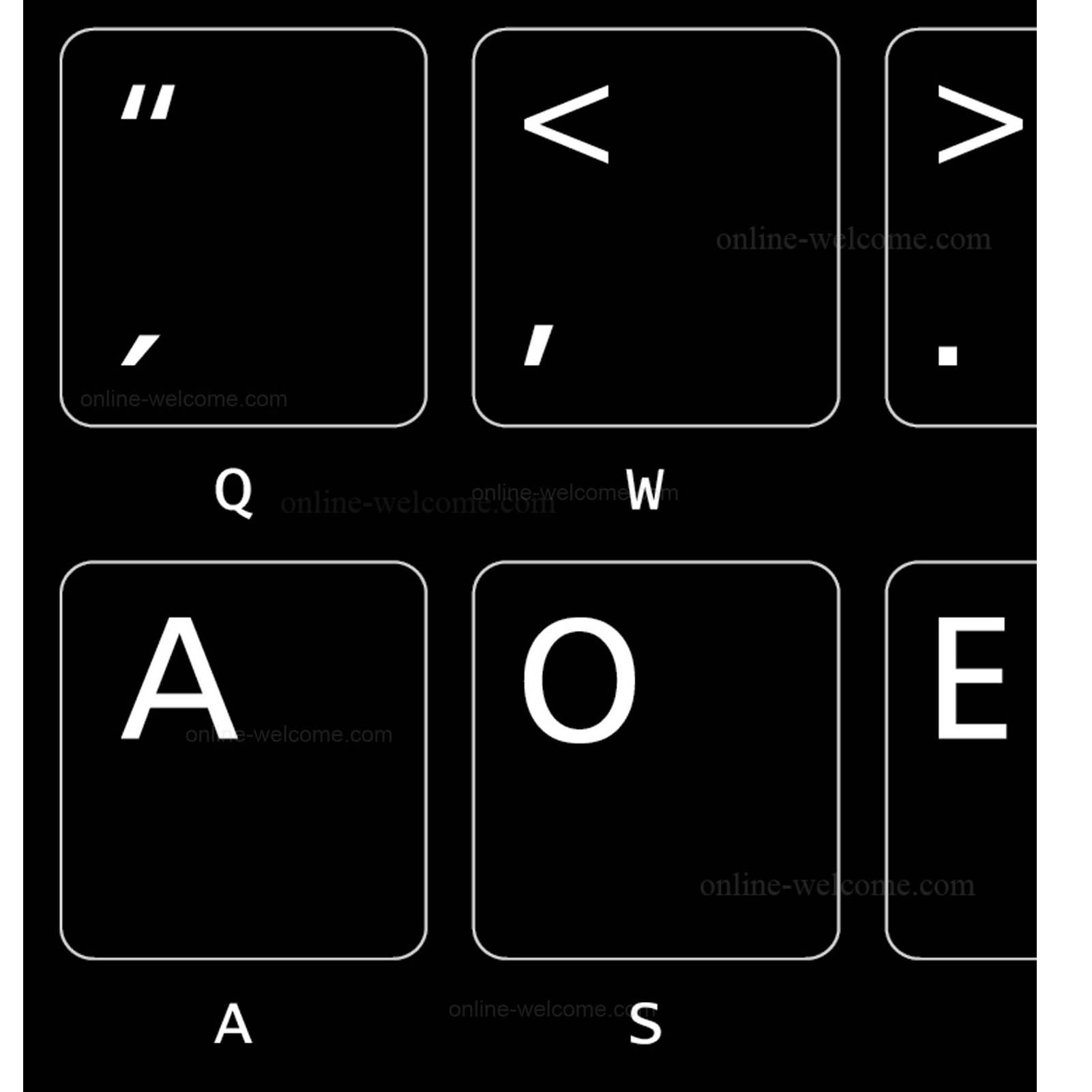 Dvorak layout for keyboard black