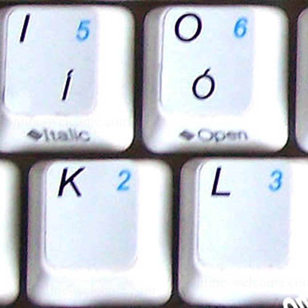 English UK keyboard sticker with additional key for keyboard white