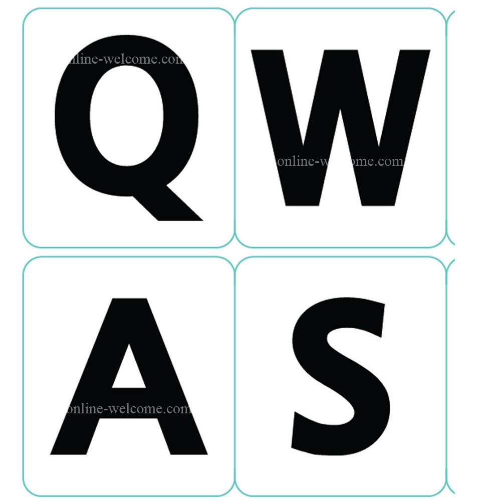 English UK large bold letters keyboard sticker white