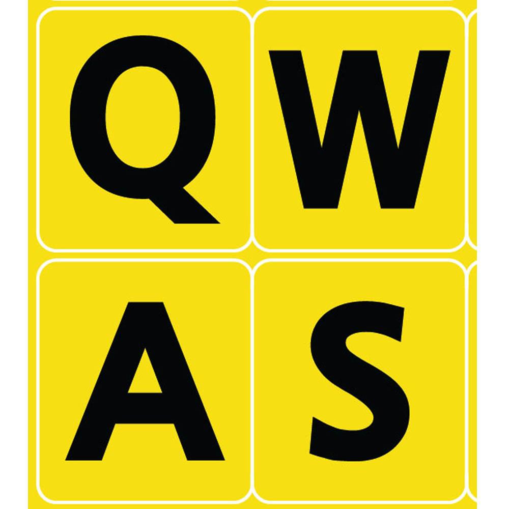 English uk large bold letters keyboard sticker yellow