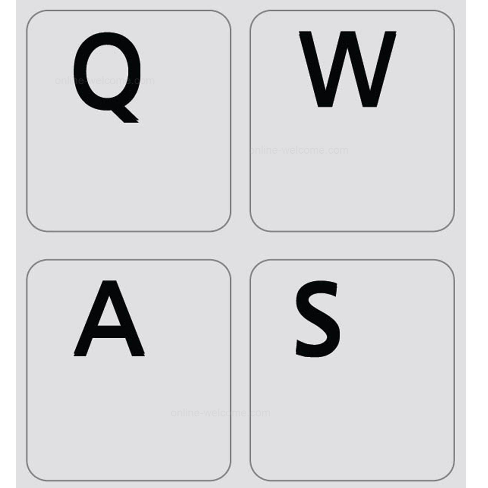 English US non transparent keyboard sticker grey