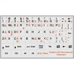 English international keyboard stickers non transparent grey