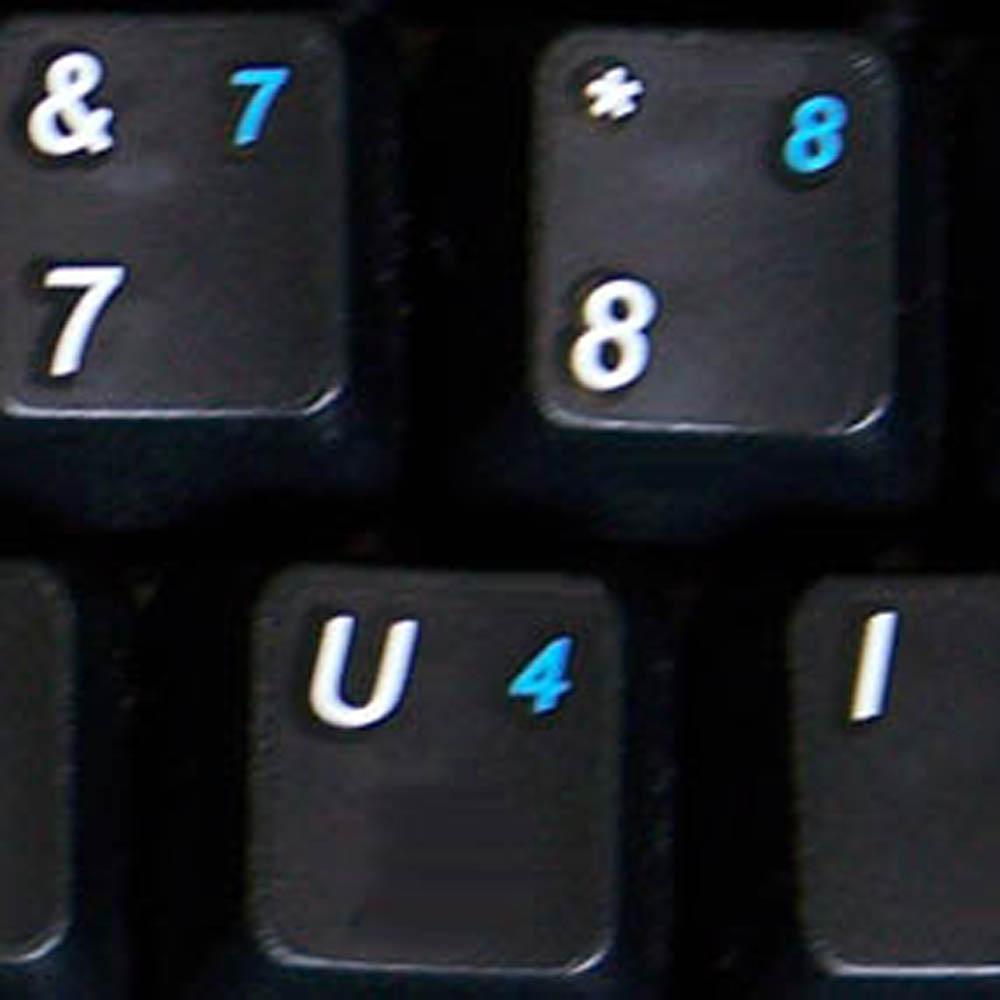 English US keyboard sticker with additional key for keyboard black