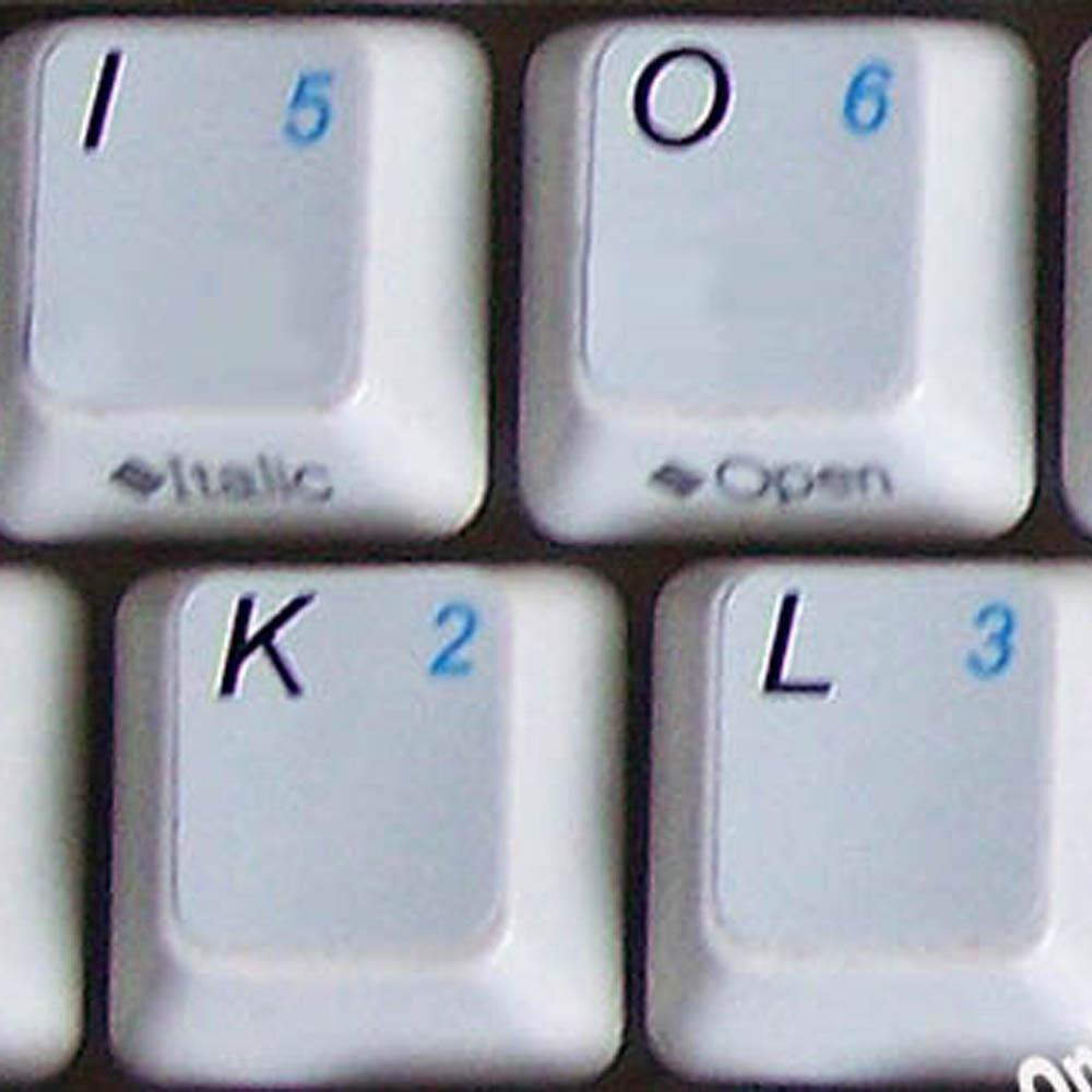 English US keyboard sticker with additional key for keyboard grey