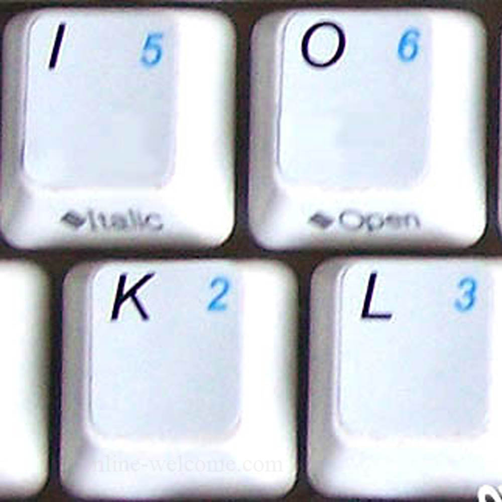 English US keyboard sticker with additional key for keyboard white