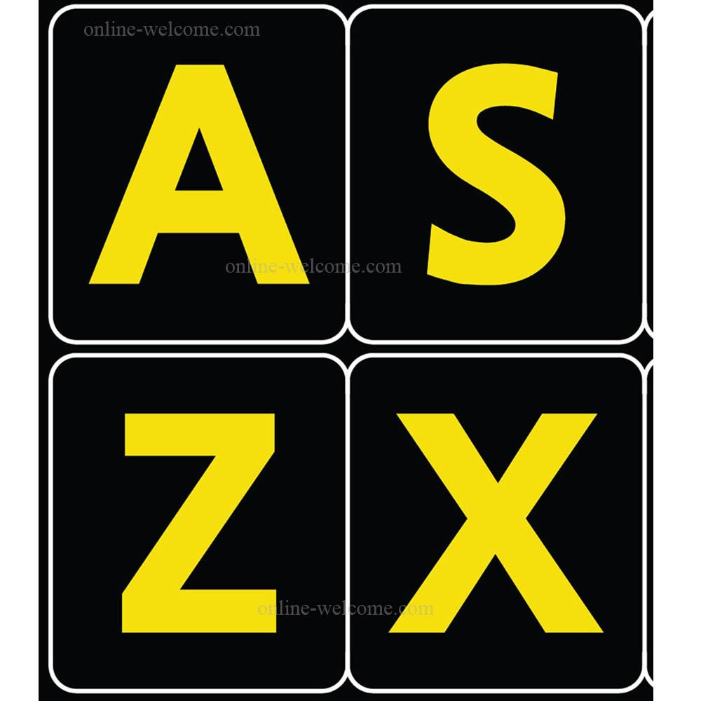 English us large bold letters keyboard sticker black-yellow