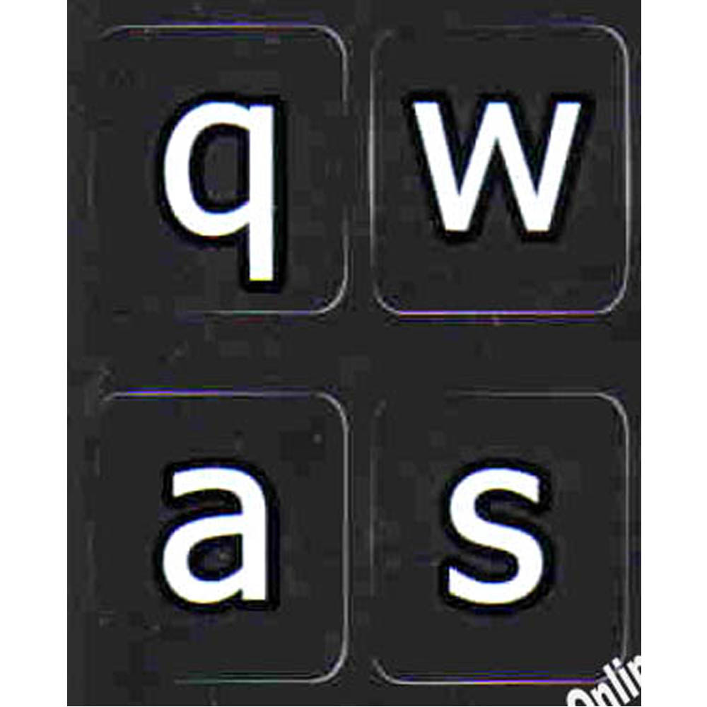 English US lower case keyboard sticker black