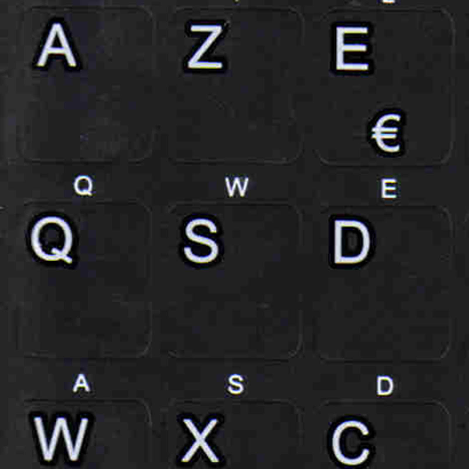 French Azerty Black letters for keyboard