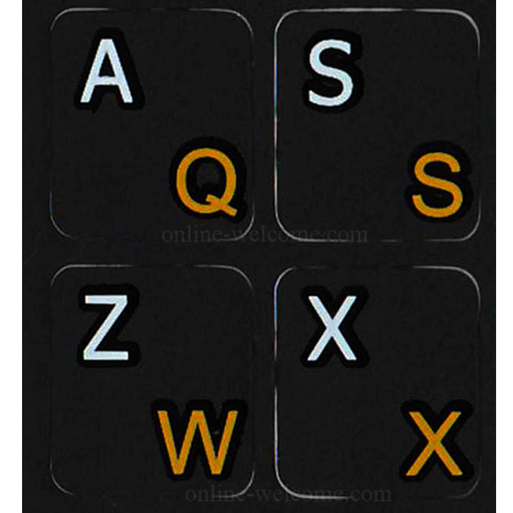 French-Azerty -English keyboard label black