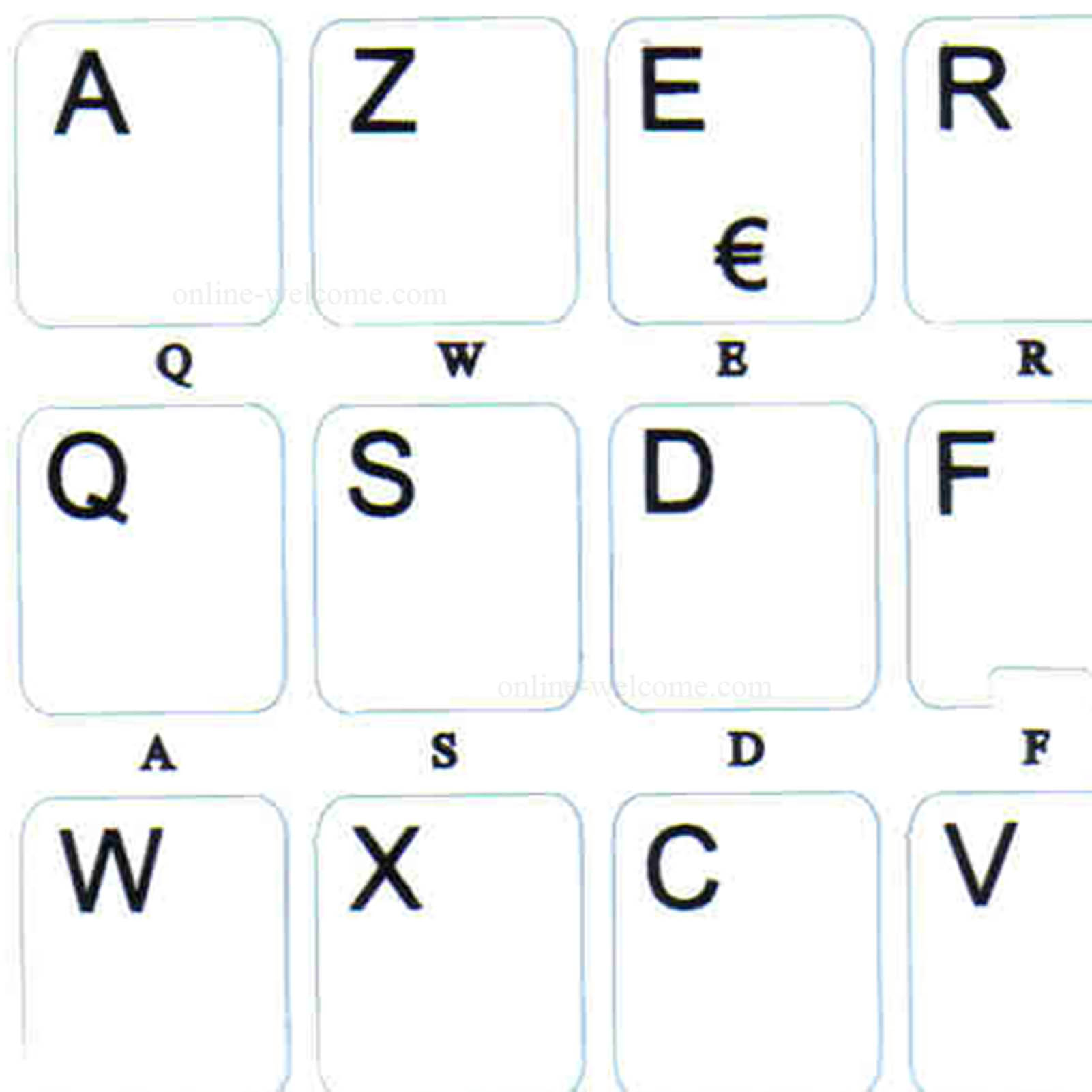French Azerty letters for keyboard white background non transparent