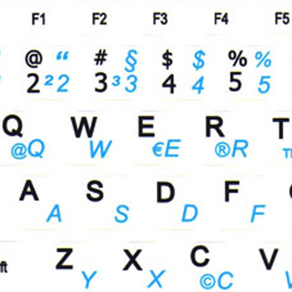 German English netbook keyboard stickers mini white