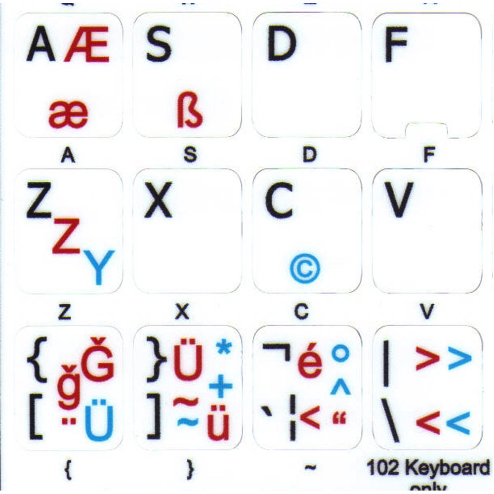 German-turkish Q English UK keyboard stciker