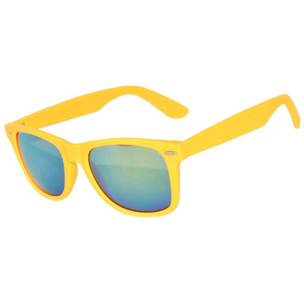 matte mirror yellow frame sunglasses