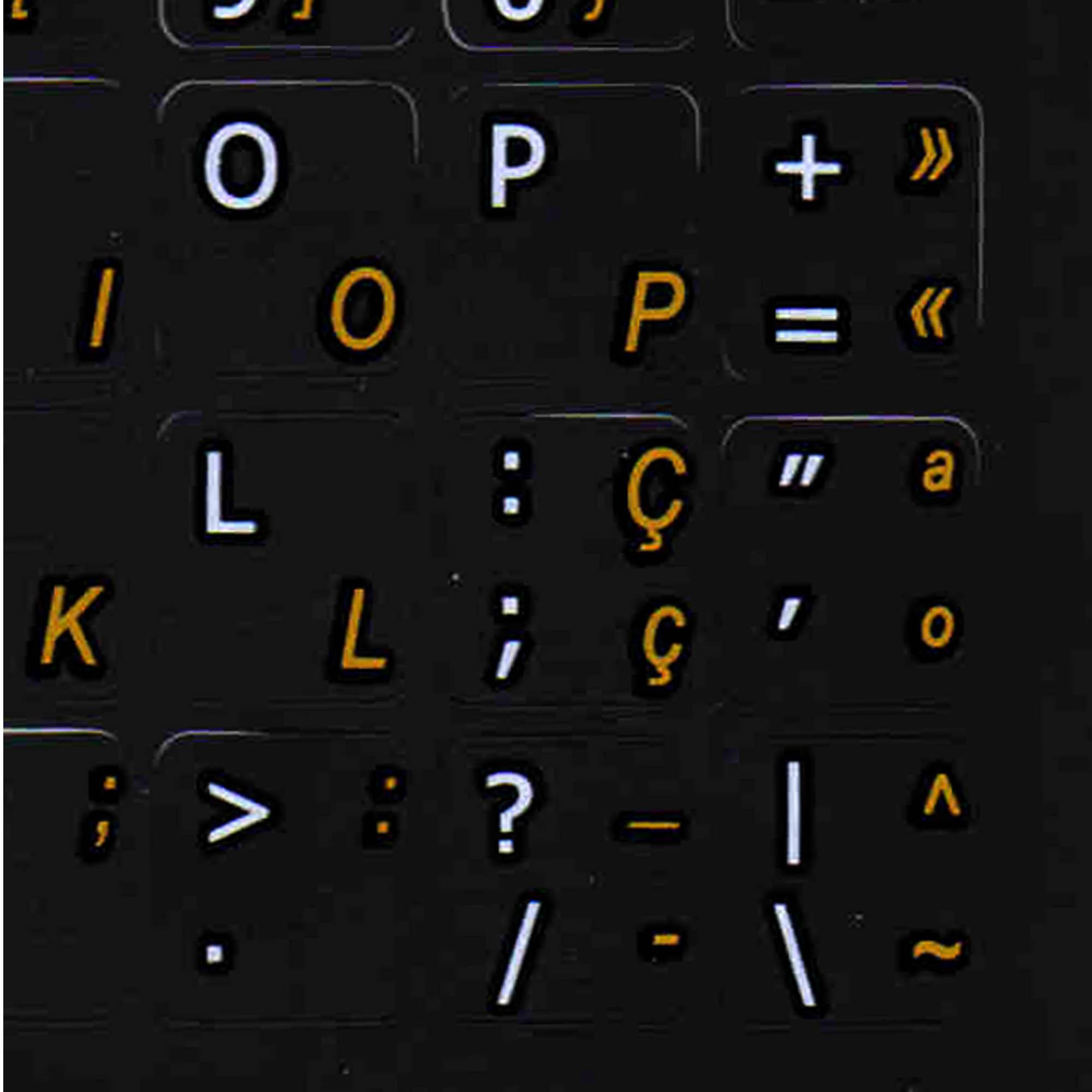 Portuguese English keyboard stickers non transparent black