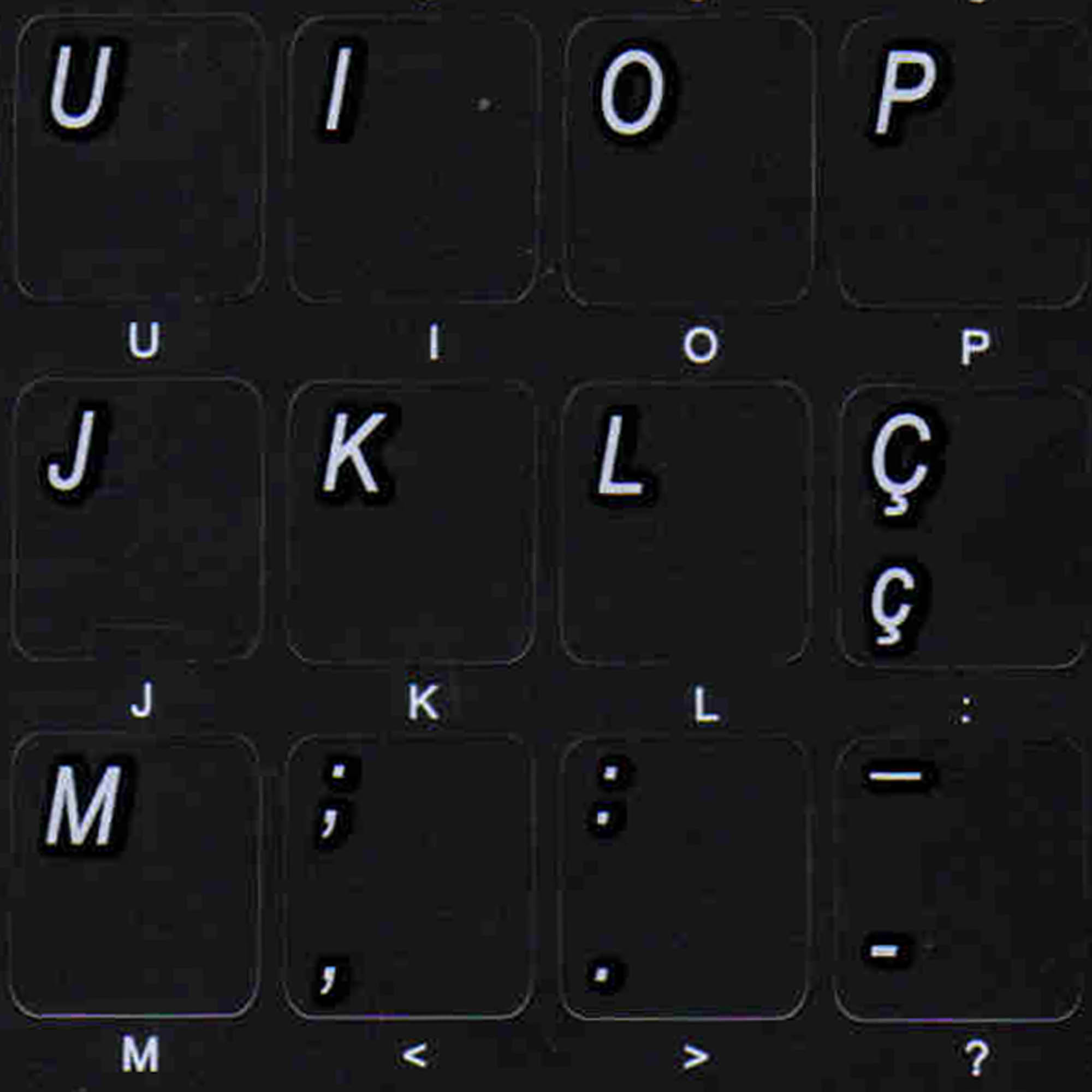 Portuguese traditional keyboard stickers non transparent black