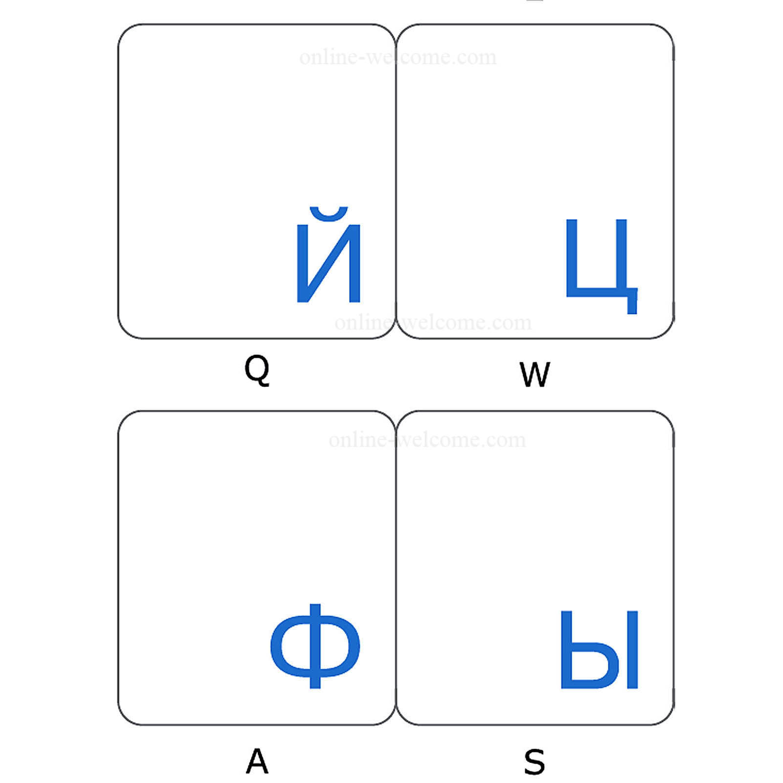 Russian keyboard stickers transparent blue letters