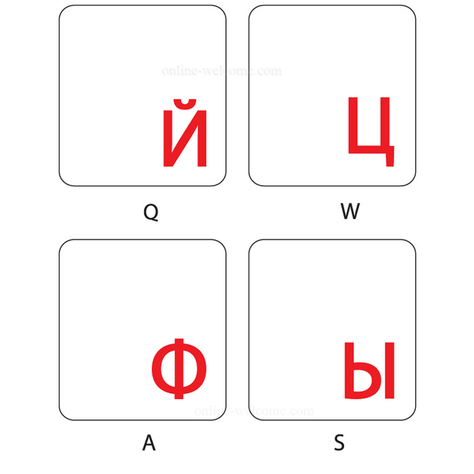 Russian keyboard sticker red letters transparent