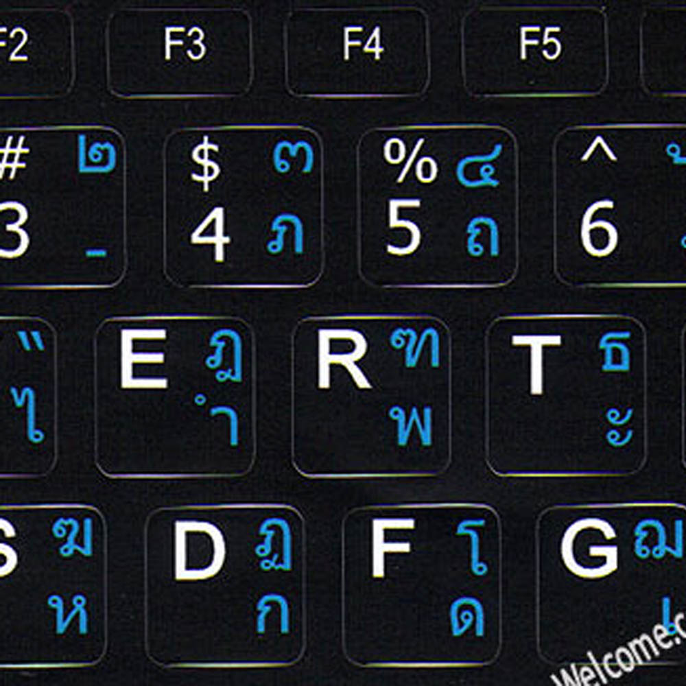 Thai-English alphabet letters keyboard sticker black