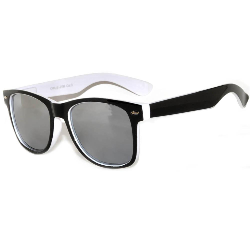 1 pair of Sunglasses 2 Tone Colored Mirror LensWhite