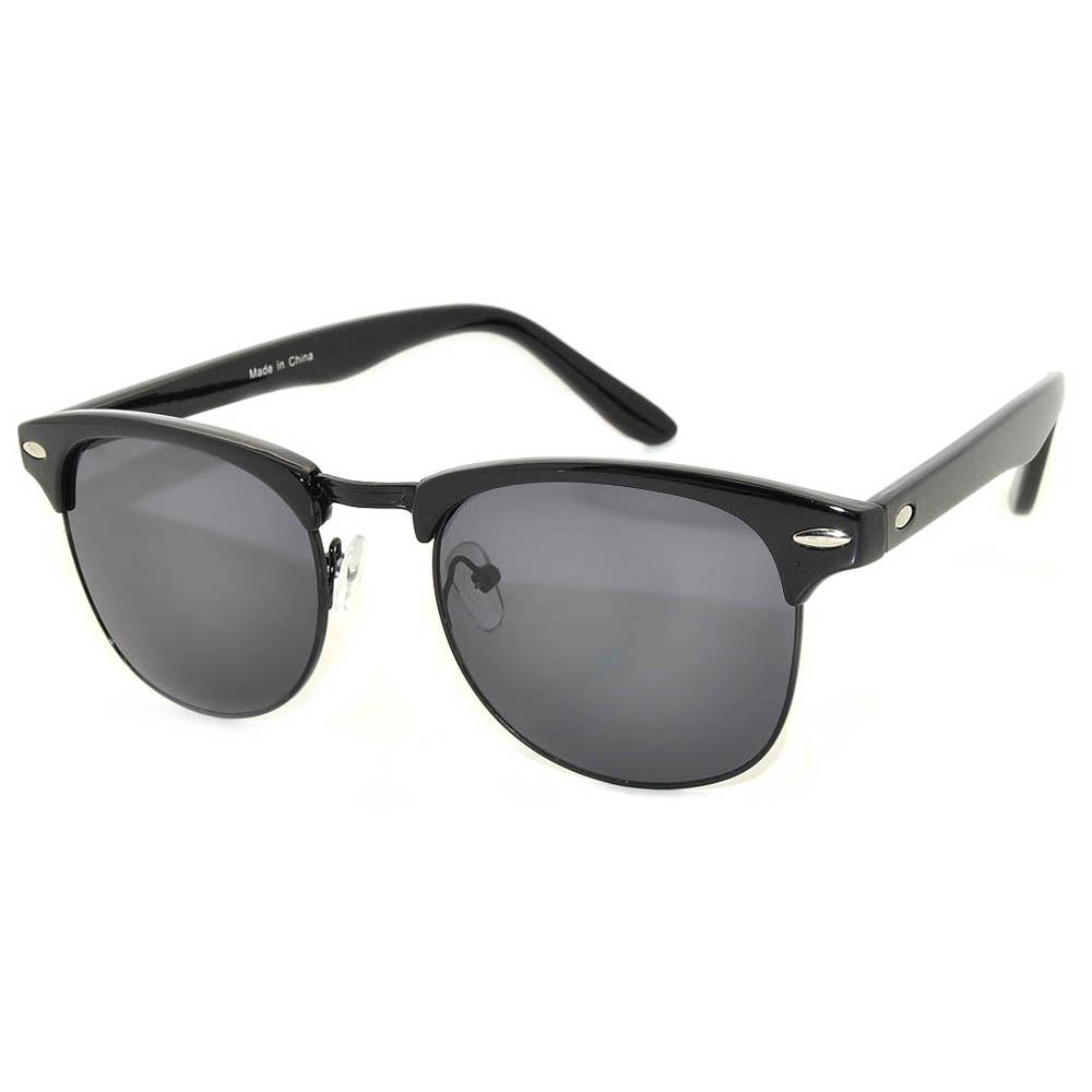 Half Frame Sunglasses Black Frame Black Smoke Lens One Dozen