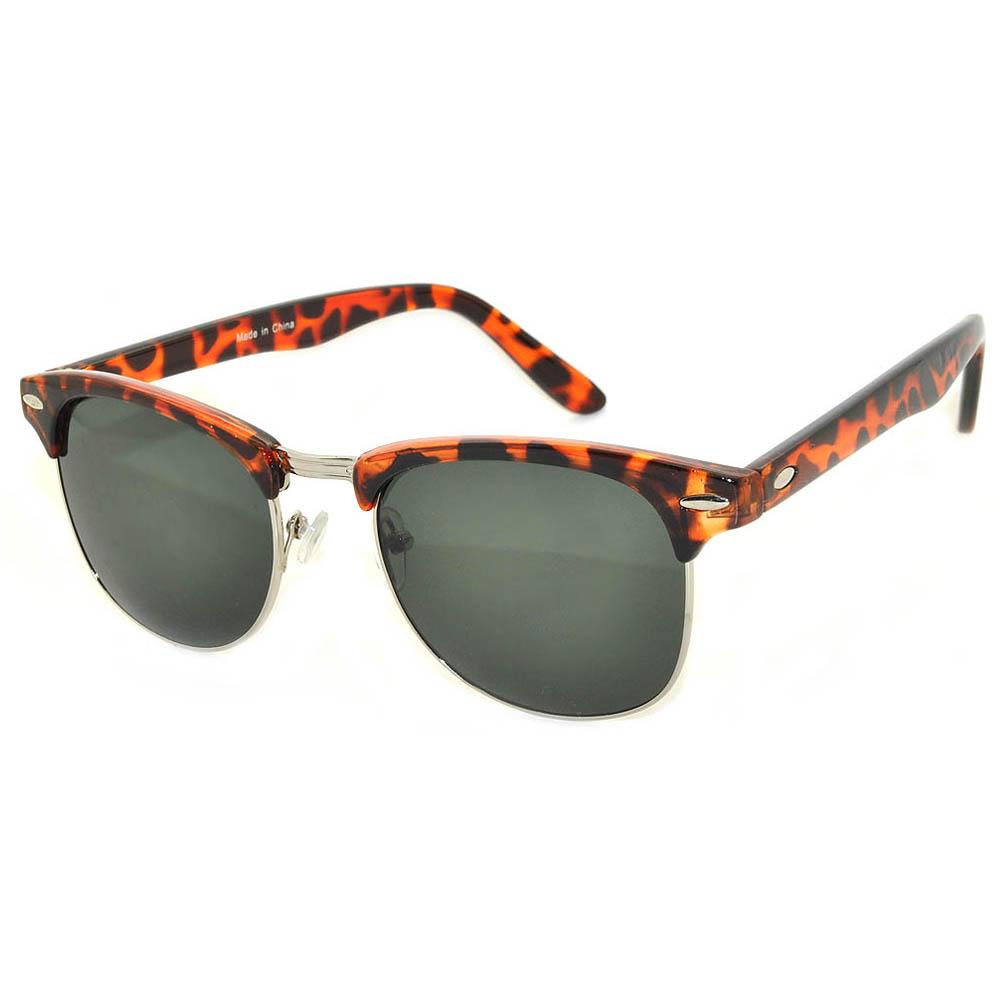 Half Frame Sunglasses Leopard Silver Frame Green Lens One Dozen