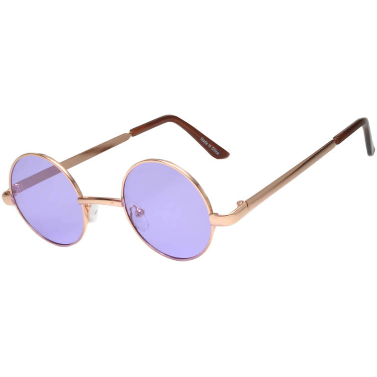 Sunglasses 43mm Women's Metal Round Circle Silver Frame Purple Lens