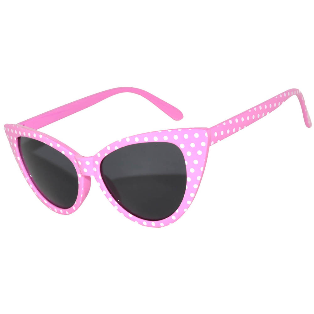 1 pair of Cat Eye Sunglasses White Polka Dots Pink