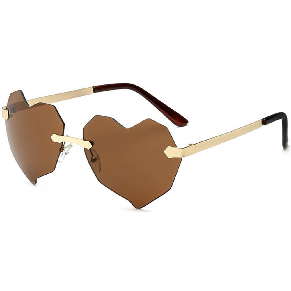 Women Heart Metal Sunglasses Gold Frame Brown Lens