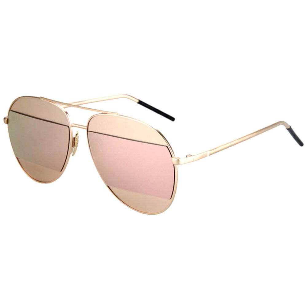 Women Metal Sunglasses Aviator Gold Frame Pink Mirror Lens