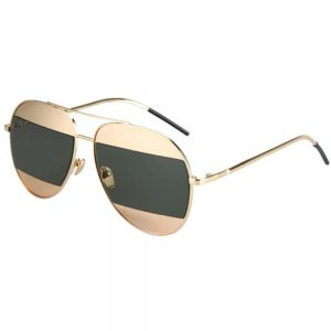 Women Metal Sunglasses Aviator Gold Frame Green Mirror Lens