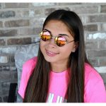 Sunglasses 43mm Women's Metal Round Circle Gold Frame Mirror Red Lens