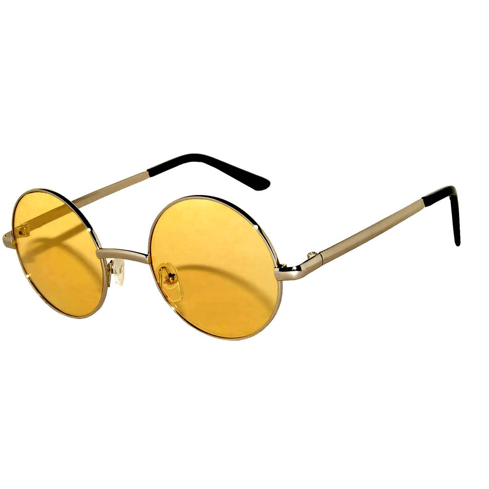 Sunglasses 43mm Women's Metal Round Circle Silver Frame Yellow Lens
