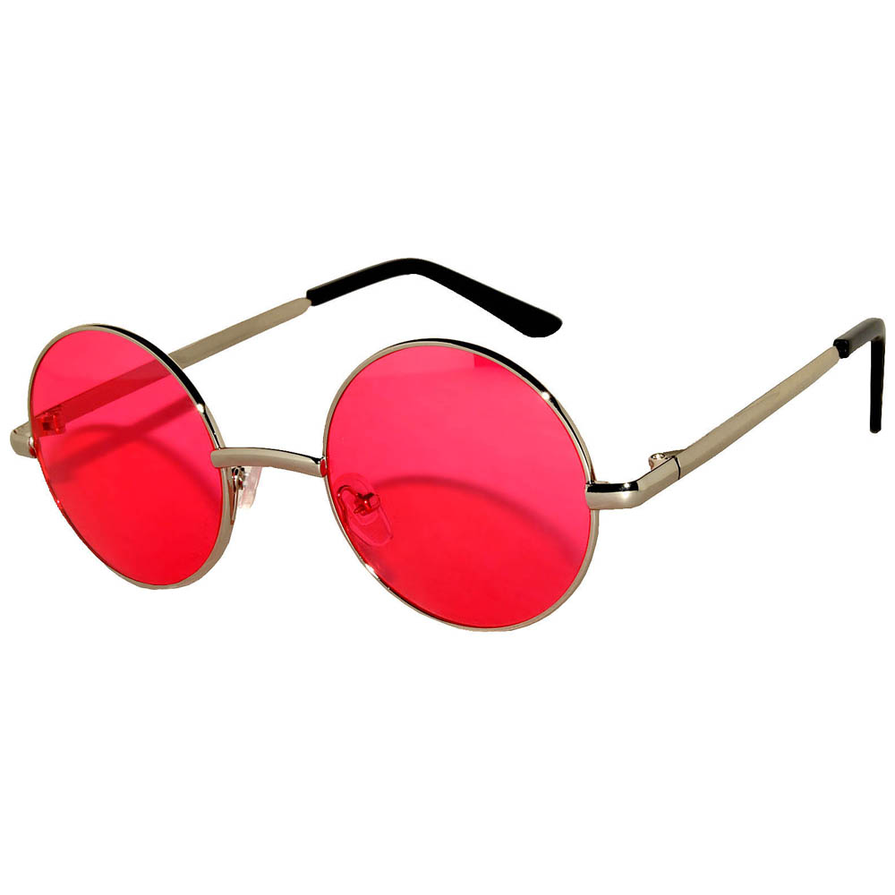 Sunglasses 43mm Women's Metal Round Circle Silver Frame Red Lens