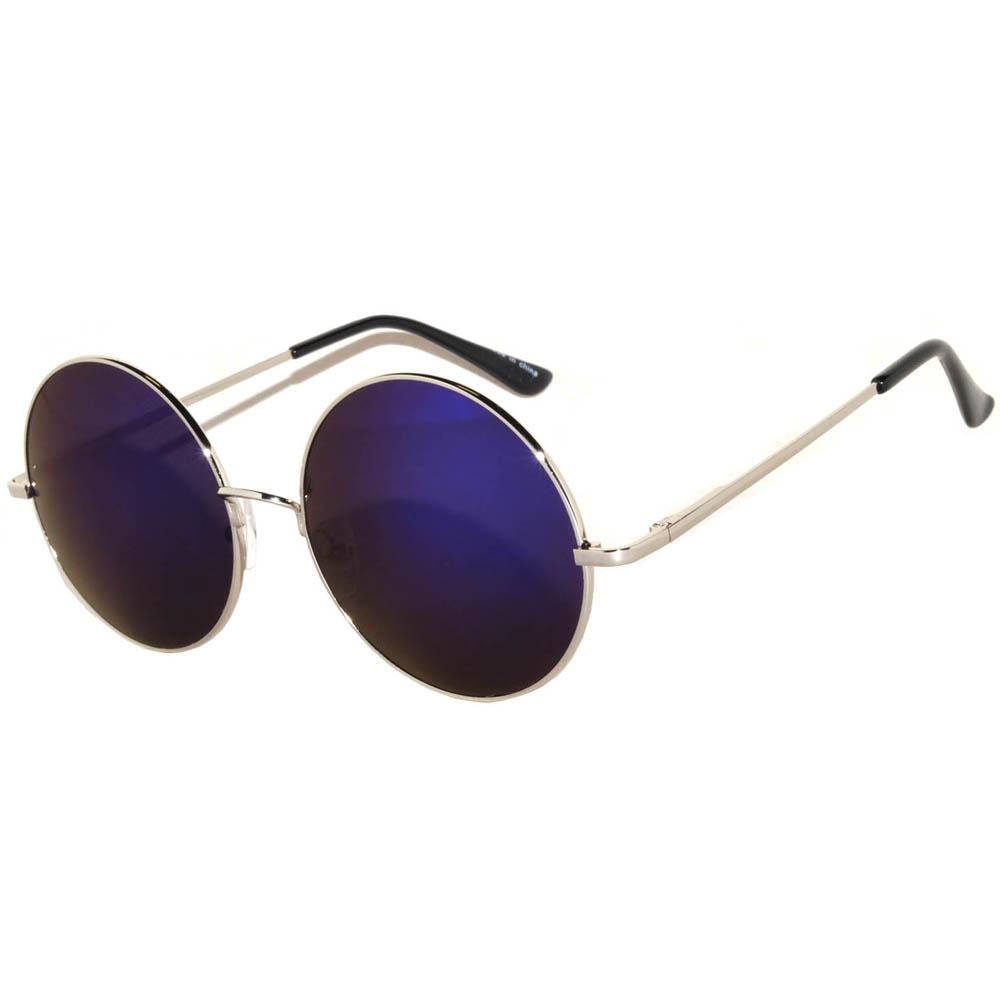 Sunglasses 56mm Women's Metal Round Circle Silver Frame Mirror Blue Lens