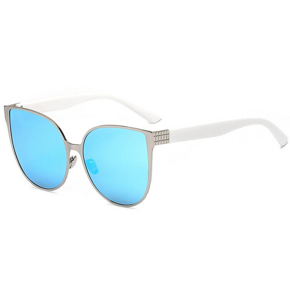 Women Metal Sunglasses Cat Silver Frame BlueMirror Lens